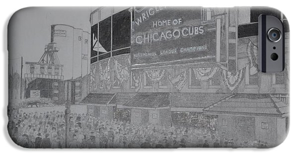 Wrigley Field Drawings iPhone Cases - Wrigley Field iPhone Case by Dave Smith
