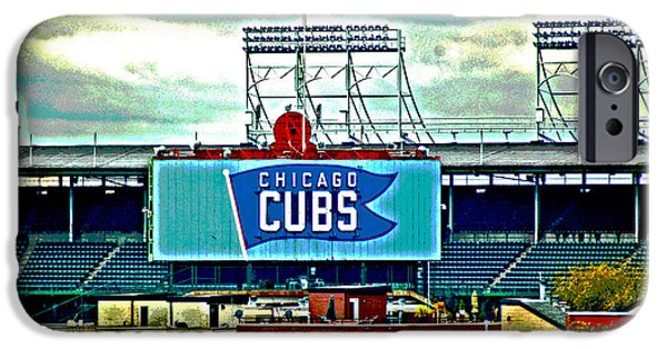 Wrigley Field Digital iPhone Cases - Wrigley Field Chicago Cubs iPhone Case by Ginger Wakem