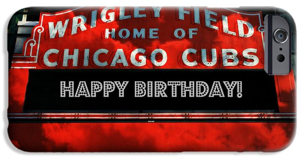 Holy Cow iPhone Cases - Wrigley Field -- Happy Birthday iPhone Case by Stephen Stookey