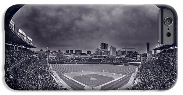 Baseball Stadiums iPhone Cases - Wrigley Field Night Game Chicago BW iPhone Case by Steve Gadomski