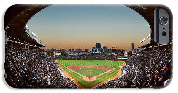 Wrigley iPhone Cases - Wrigley Field Night Game Chicago iPhone Case by Steve Gadomski