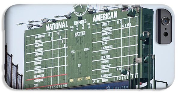 Wrigley iPhone Cases - Wrigley Field Scoreboard Sign iPhone Case by Paul Velgos