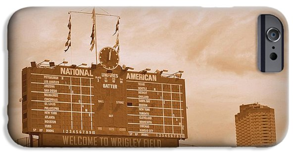 Wrigley Field iPhone Cases - Wrigley Field Scoreboard iPhone Case by Toni Abdnour