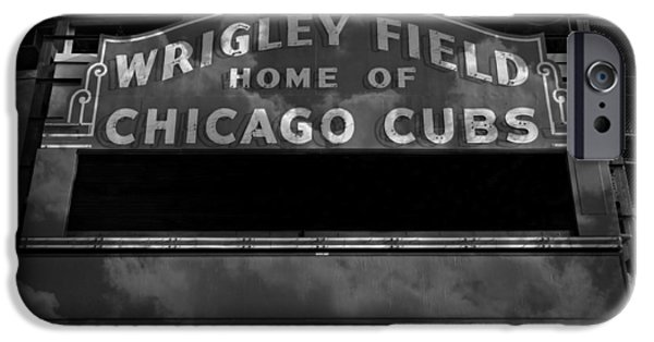Holy Cow iPhone Cases - Wrigley Field Sign -- BW iPhone Case by Stephen Stookey