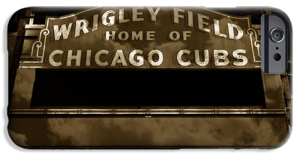 Holy Cow iPhone Cases - Wrigley Field Sign - Vintage iPhone Case by Stephen Stookey