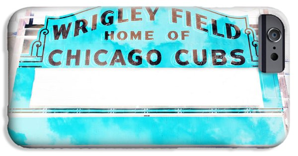 Holy Cow iPhone Cases - Wrigley Field Sign - X-Ray iPhone Case by Stephen Stookey