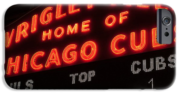 Chicago Cubs iPhone Cases - Wrigley Field Sign at Night iPhone Case by Paul Velgos