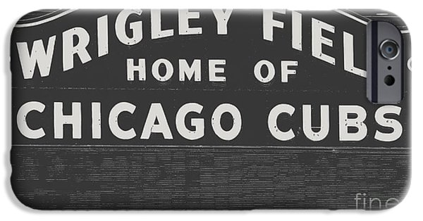 Wrigley iPhone Cases - Wrigley Field Sign iPhone Case by Emily Enz