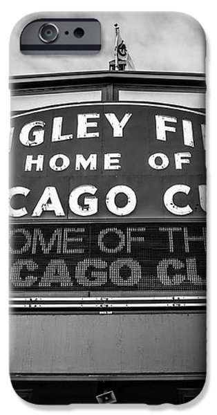 Wrigley Field Sign in Black and White iPhone Case by Paul Velgos