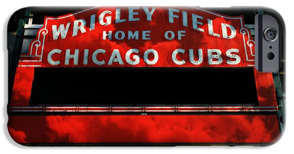 Wrigley iPhone Cases - Wrigley Field Sign -- No.1 iPhone Case by Stephen Stookey
