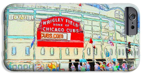 Wrigley Paintings iPhone Cases - Wrigley Field Sketch iPhone Case by John Farr