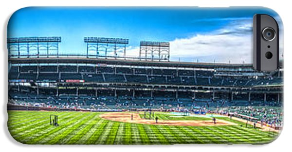 Chicago Cubs iPhone Cases - Wrigley Panorama iPhone Case by Corey Cassaw