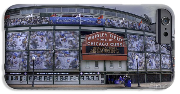 Chicago Cubs iPhone Cases - Wrigleys New Wallpaper iPhone Case by David Bearden