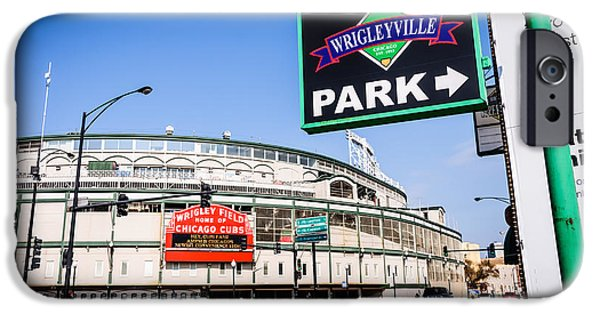 Wrigley iPhone Cases - Wrigleyville Sign and Wrigley Field in Chicago iPhone Case by Paul Velgos