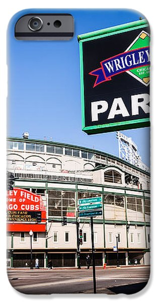 Wrigleyville Sign and Wrigley Field in Chicago iPhone Case by Paul Velgos