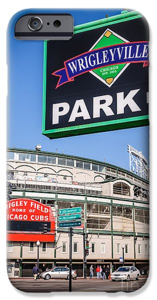 Wrigley iPhone Cases - Wrigleyville Sign and Wrigley Field iPhone Case by Paul Velgos