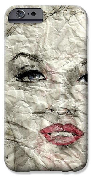 Mixed Media Drawings iPhone Cases - wrinckled Marilyn iPhone Case by P J Lewis