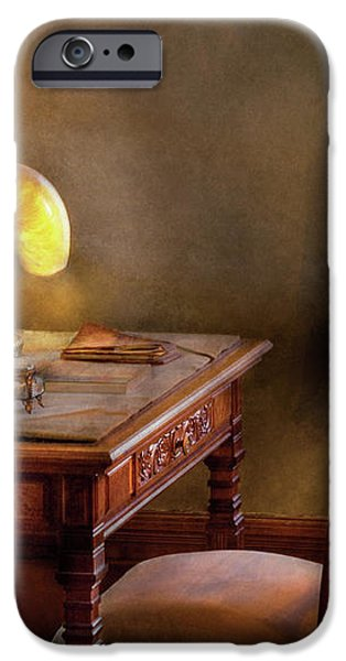 Writer - Desk of an Inventor iPhone Case by Mike Savad