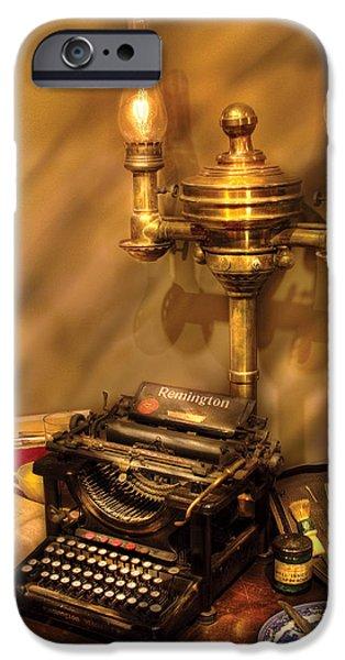 Writer - Remington Typewriter iPhone Case by Mike Savad