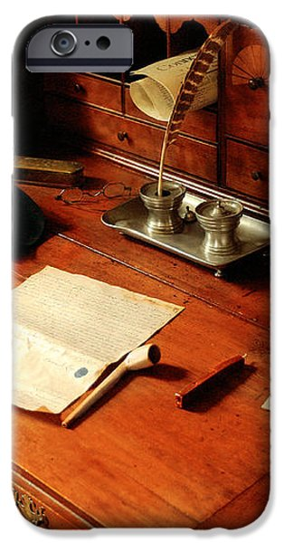 Writer - The desk of a gentleman  iPhone Case by Mike Savad