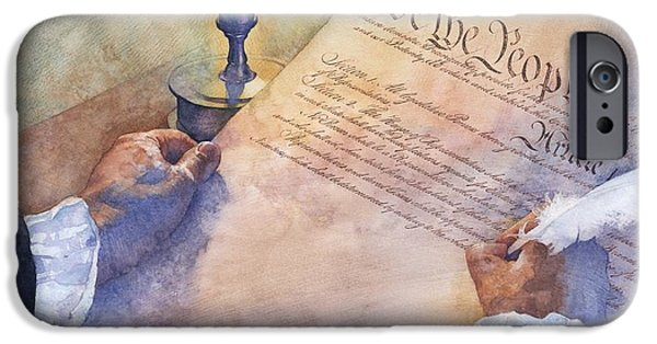 War Of Independence iPhone Cases - Writing the Constitution iPhone Case by Greg Harlin