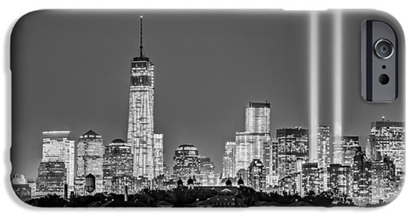 Freedom iPhone Cases - WTC Tribute In Lights BW iPhone Case by Susan Candelario