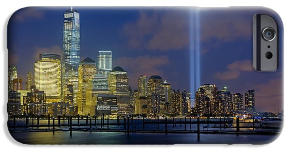 Hudson River iPhone Cases - WTC Tribute In Lights NYC 1 iPhone Case by Susan Candelario