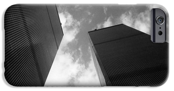 Twin Towers Nyc iPhone Cases - WTC Twin Towers Grayscale iPhone Case by Stacey May
