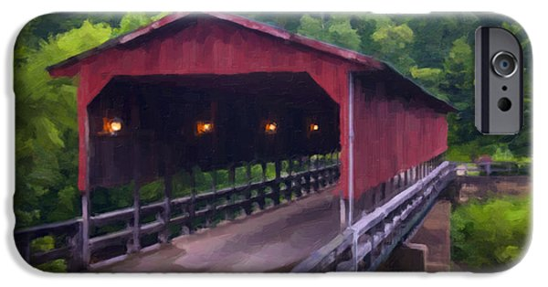 Covered Bridge iPhone Cases - WV Covered Bridge iPhone Case by Chris Flees