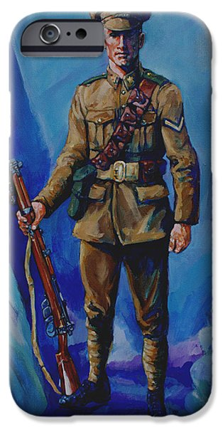 Ww1 Paintings iPhone Cases - WW 1 Soldier iPhone Case by Derrick Higgins