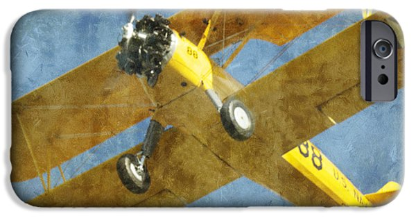 Jet Star iPhone Cases - Stearman Trainer Bi Plane iPhone Case by Thomas Woolworth