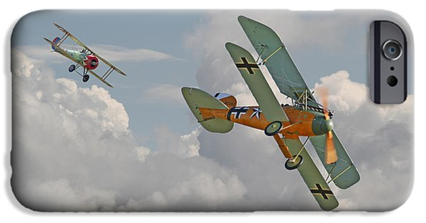 Fokker D V11 iPhone Cases - WW1 - Fighting Colours iPhone Case by Pat Speirs
