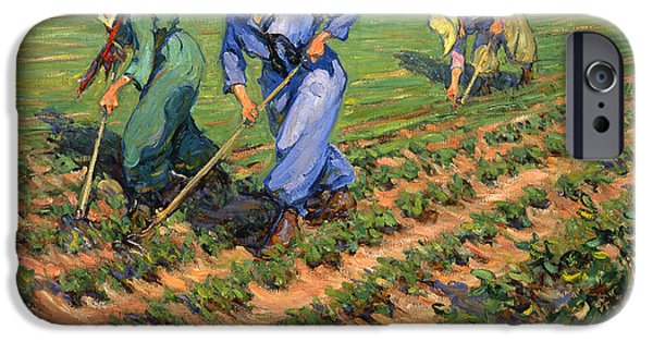 Ww1 Photographs iPhone Cases - WW1 Land Girls Farming Painting Print iPhone Case by Nomad Art And  Design