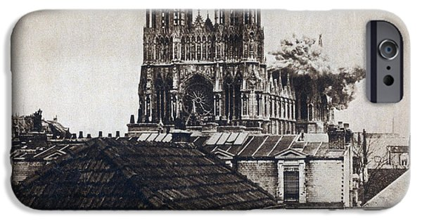 First Lady iPhone Cases - Wwi, Direct Hit, Reims Cathedral, 1914 iPhone Case by Photo Researchers