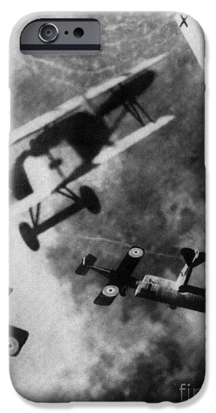 Ww1 iPhone Cases - WWI German British Dogfight iPhone Case by Nypl
