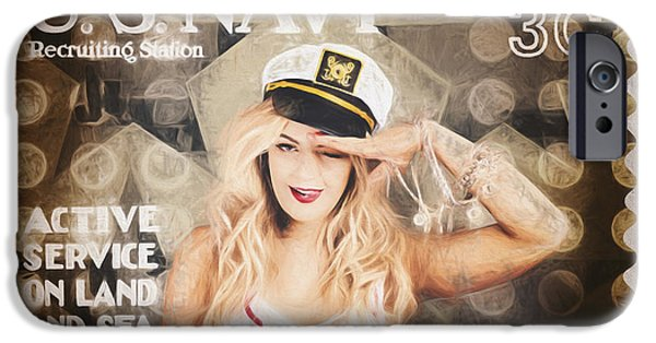 4th July Photographs iPhone Cases - WWI recruiting postage stamp. Navy sailor girl iPhone Case by Ryan Jorgensen