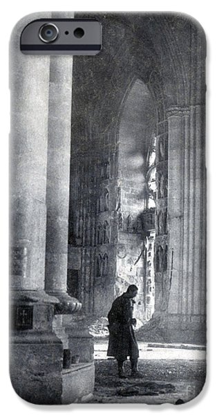 First Lady iPhone Cases - Wwi, Reims Cathedral iPhone Case by Photo Researchers