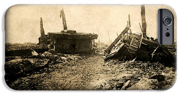 World War One iPhone Cases - WWI Tank Ruins iPhone Case by Historic Image