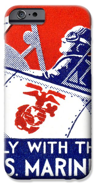 Recently Sold -  - Patriotism iPhone Cases - WWII Marine Corps Aviation iPhone Case by Historic Image