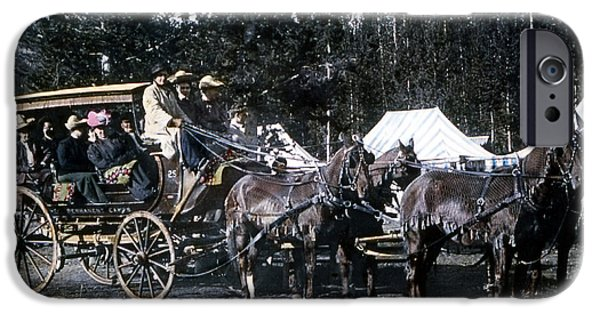 Horse And Buggy iPhone Cases - Wylie Coach Yellowstone National Park iPhone Case by NPS Photo