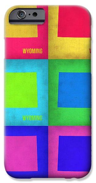 Wyoming iPhone Cases - Wyoming Pop Art Map 1 iPhone Case by Naxart Studio
