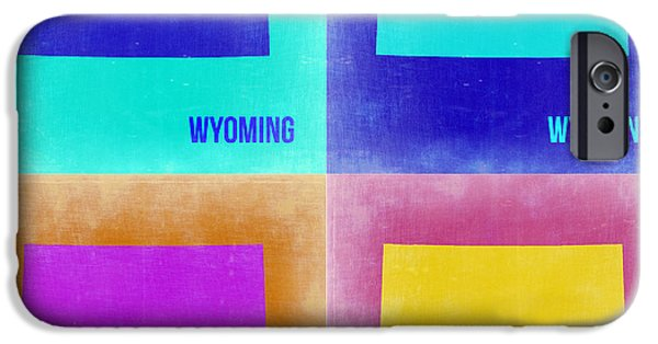 Wyoming iPhone Cases - Wyoming Pop Art Map 2 iPhone Case by Naxart Studio