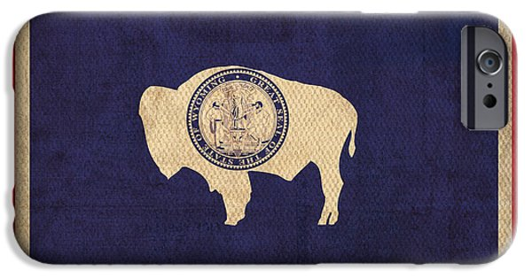 Flag iPhone Cases - Wyoming State Flag Art on Worn Canvas iPhone Case by Design Turnpike