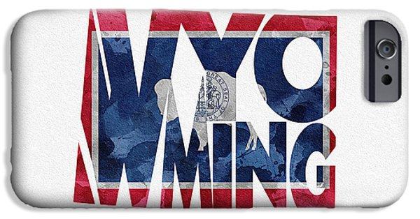 Wyoming iPhone Cases - Wyoming Typographic Map Flag iPhone Case by Ayse Deniz