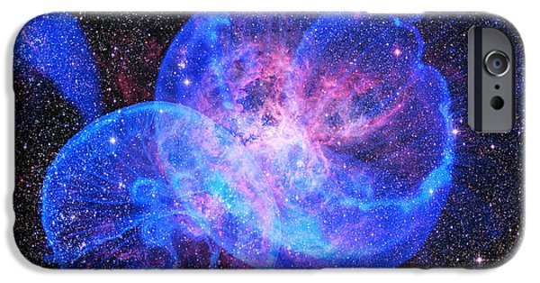 Jelly Fish iPhone Cases - X-Factor in Universe. Strangers in the Night iPhone Case by Jenny Rainbow