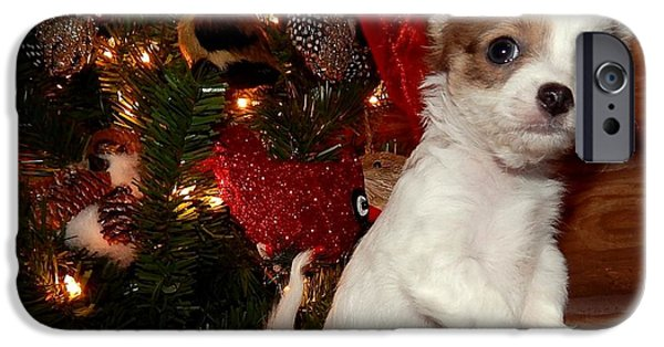 Canine Greeting Cards Digital Art iPhone Cases - Xmas Puppy 2 iPhone Case by Lynn Griffin