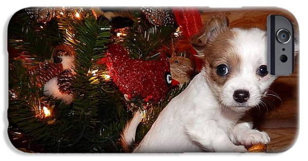 Canine Greeting Cards Digital Art iPhone Cases - Xmas Puppy iPhone Case by Lynn Griffin
