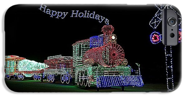Central Il iPhone Cases - Xmas Tree Train Happy Holidays iPhone Case by Thomas Woolworth