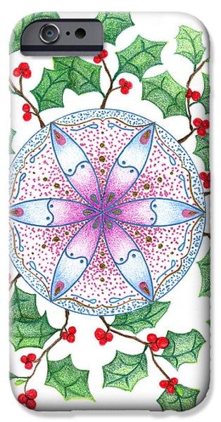 Keiko Katsuta iPhone Cases - Xmas Wreath iPhone Case by Keiko Katsuta