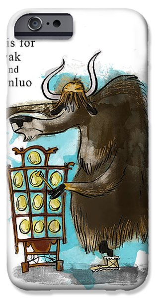 Yak iPhone Cases - Y is for Yak iPhone Case by Sean Hagan